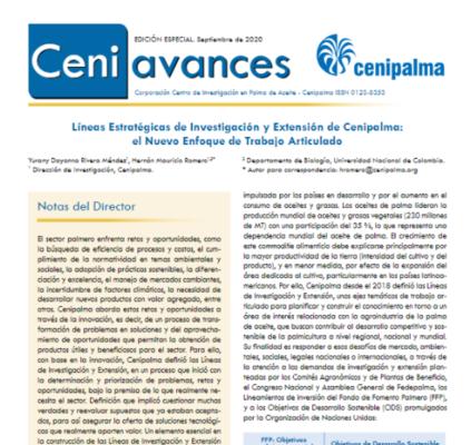Ceniavances Edición especial - Líneas Estratégicas de Investigación y Extensión de Cenipalma: el Nuevo Enfoque de Trabajo Articulado